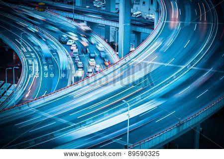 City Traffic On Viaduct
