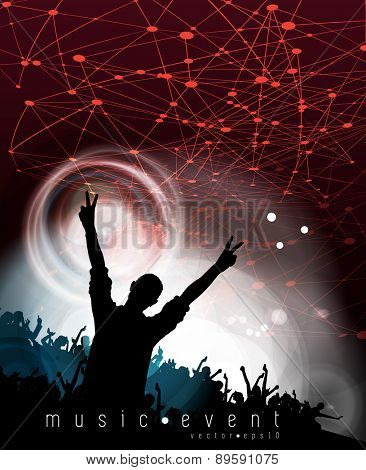 Concert. Group of happy dancing people. Vector illustration