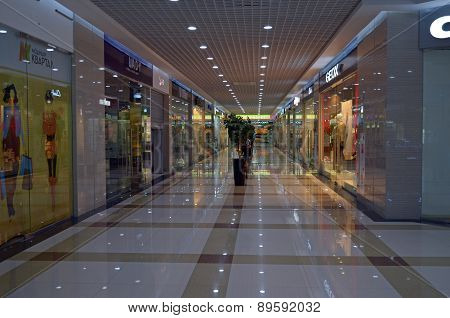 Irkutsk, Russia-June,18 2014:Hall of a new shopping center in Irkutsk