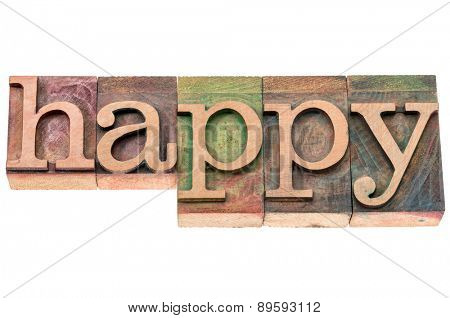 happy word typography - isolated text in letterpress wood type