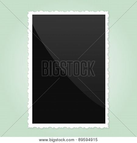 Retro Photo Frame   On green Background. Vector illustration