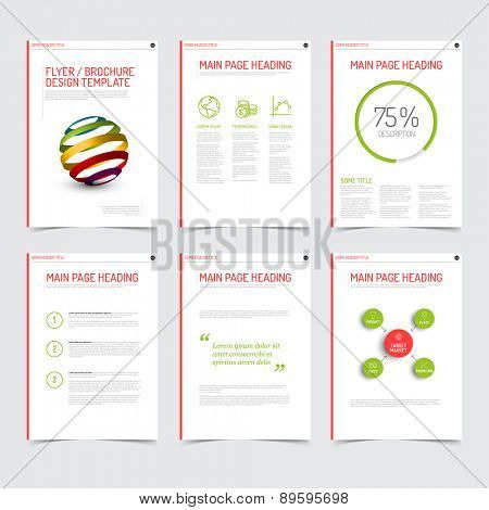 Set of modern brochure flyer design templates with graphs, charts and other infographic elements - red  and green version