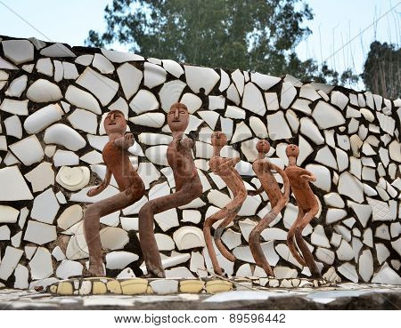 Chandigarh, India - January 4, 2015: Rock Statues At The Rock Garden