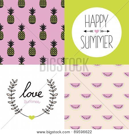 Seamless colorful summer pattern set collection and postcard cover designs with pineapple water melon and hand lettering in vivid colors