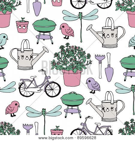 Seamless barbecue garden and summer bike ride plants and birds gardening theme illustration background pattern in vector