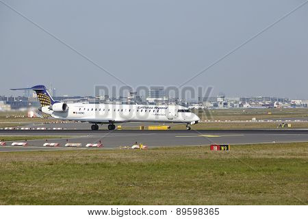 Frankfurt Airport - Bombardier Crj900 Of Lufthansa Regional Takes Off