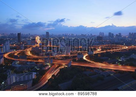 City Scape And Beautiful Traffic Light On Expressways In Heart Of Bangkok Capital Of Thailand At Daw