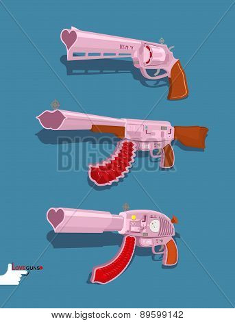 Set love guns. Automatic, Blaster, Magnum. Vector illustration