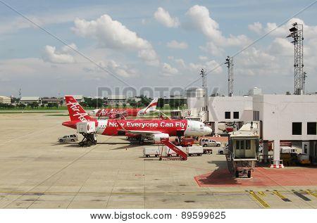 BANGKOK, THAILAND - OCTOBER 18, 2013: Aircrafts on airfield of airport Don Muang.