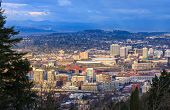 stock photo of portland oregon  - View of Portland Oregon from Pittock Mansion during the Golden Hour  - JPG