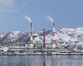 image of thermal  - Thermal power station pipes on Kamchatka in winter - JPG