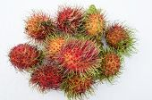 pic of hairy  - Rambutan fruit tropical natural red hairy ripe - JPG