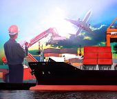 picture of export  - manager working in ship port and air plane cargo logistic use as import export transportation shipping land and air transport topic - JPG