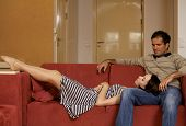 picture of lap  - Woman sleeping on husband - JPG
