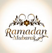 foto of ramadan mubarak  - Shiny floral design decorated text Ramadan Mubarak for Muslim community festival celebration - JPG