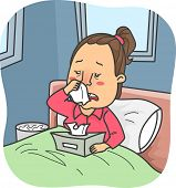 picture of tissue box  - Illustration of a Girl in Bed with Flu holding a box of tissue - JPG