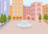 stock photo of fountains  - Illustration of a Courtyard with a Mini Fountain in the Middle - JPG