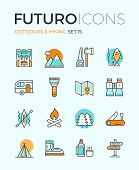image of recreation  - Line icons with flat design elements of camping equipment hiking activity outdoors adventure mountain climbing recreation tourism - JPG
