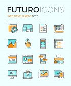 picture of process  - Line icons with flat design elements of responsive website development web programming process API interface coding mobile app UI making - JPG