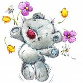 picture of teddy  - Toy Teddy bear and flowers - JPG