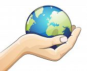 stock photo of save earth  - Hand holding the earth globe on white background - JPG