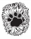 image of dog footprint  - hand drawn doodle Funny Dogs Set Vector illustration - JPG