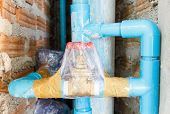 picture of cleanliness  - Close up sTap water valve wrapped for cleanliness in new building - JPG