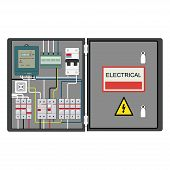 stock photo of breaker  - Picture of the electrical panel - JPG