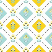 foto of scandinavian  - Floral pattern with abstract scandinavian flowers  - JPG