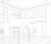 image of interior sketch  - Abstract sketch design interior kitchen - JPG