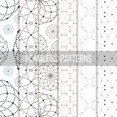 stock photo of node  - Dotted seamless patterns with circles and nodes - JPG