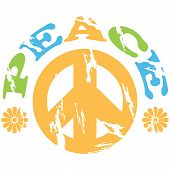 image of peace-sign  - Concept illustration showing a peace sign with the word peace and flowers around it - JPG
