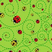 picture of ladybug  - Red and yellow ladybugs on a green background pattern - JPG