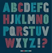 Постер, плакат: Retro Stripes Funky Fonts Set