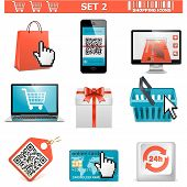 stock photo of gift basket  - Shopping icons set 2 - JPG