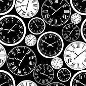 stock photo of clocks  - Clock seamless pattern - JPG