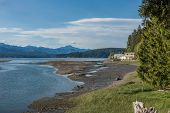 picture of olympic mountains  - A view looking north from the south end of Hood Canal in Washington State - JPG