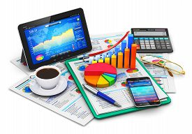 picture of calculator  - Modern tablet computer PC and black glossy touchscreen smartphone or mobile phone with stock market app - JPG