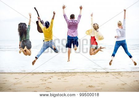 Diversity Friends Summer Beach Vacation Holiday Concept