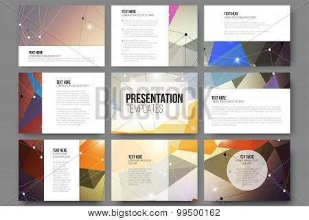 Set of 9 vector templates for presentation slides. Abstract colored background, triangle design illu