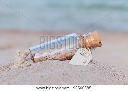 Sand And Sea Shell In Bottle  Put On The Beach Concept For Wedding Invitation Or Wedding Gift  Venue