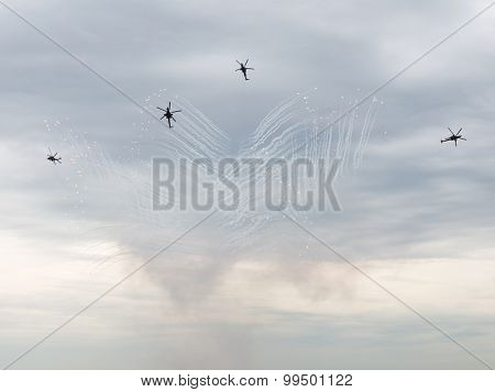 Mi-28 Launch Fireworks At An Airshow