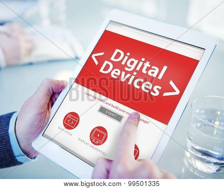 Digital Online Media Devices Office Working Concept