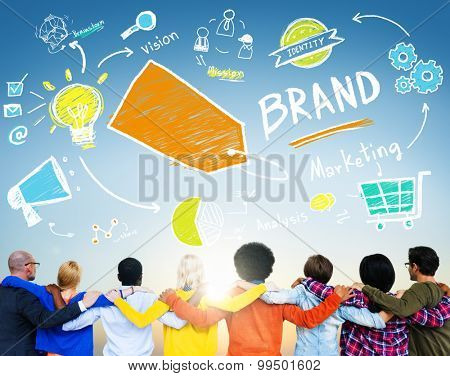 Diverse People Togetherness Rear View Brand Concept