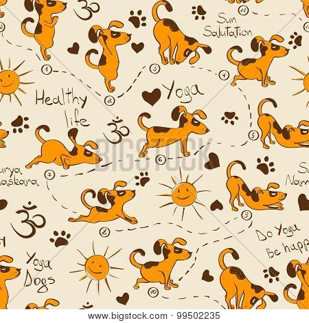 Seamless Pattern With Dog Doing Yoga Position Of Surya Namaskara.