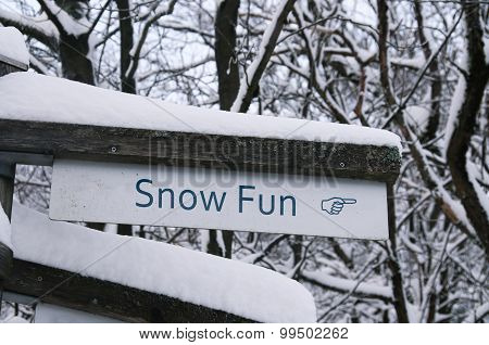 Snow Fun Direction Sign