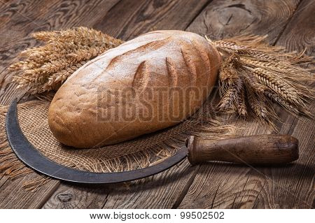 Bread, Ears And Sickle On Old Boards