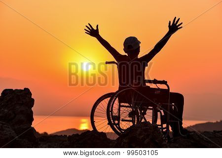 disable man and sunrise