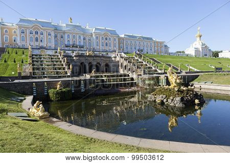 PETERHOF, RUSSIA -  AUGUST 22, 2015: Photo of View of the fountain