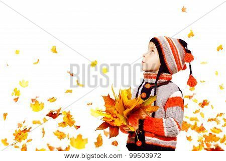 Kid Autumn Fashion, Child Knitted Hat Woolen Jacket Clothing, Boy Fall Leaves Looking Up,White